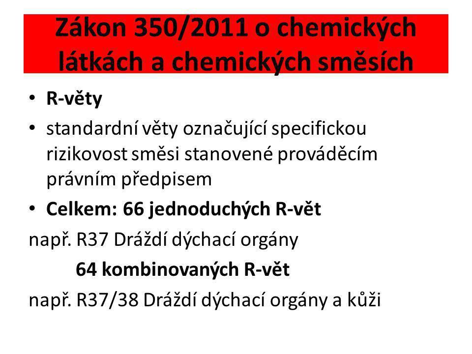 Zákon 350/2011 o chemických látkách a chemických směsích • S-věty • standardní pokyny pro bezpečné zacházení se směsí stanovené prováděcím právním předpisem • Celkem: 54 jednoduchých S-vět např.