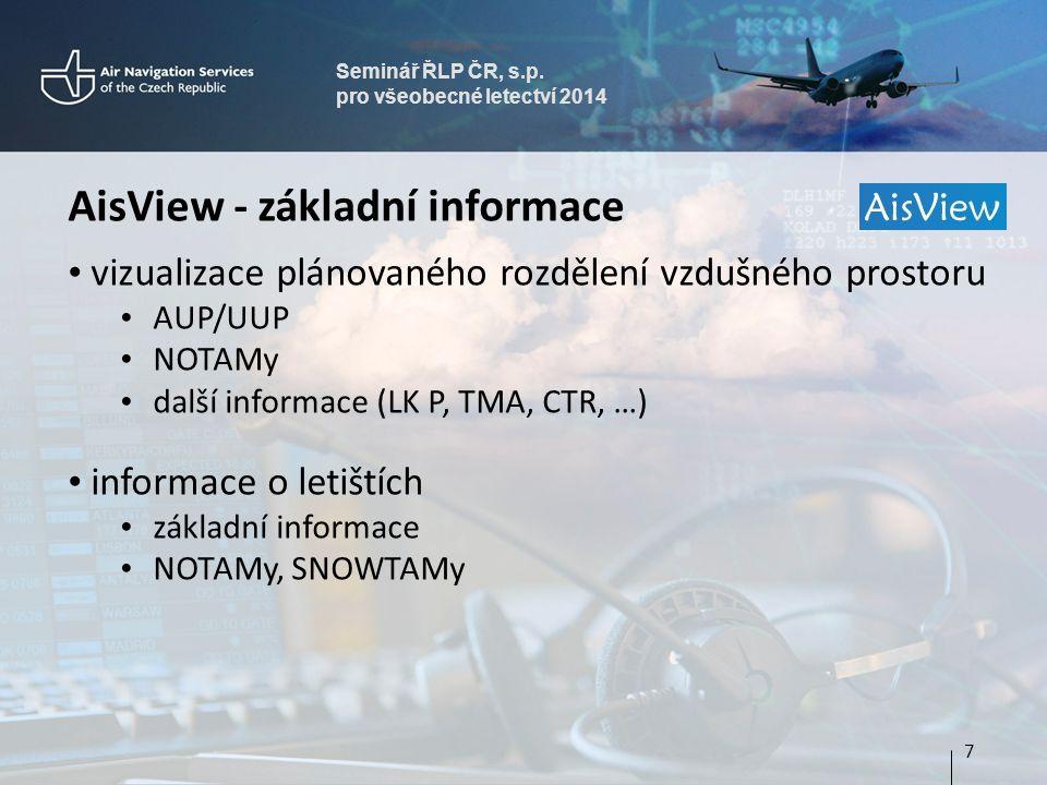 Seminář ŘLP ČR, s.p. pro všeobecné letectví 2014 AisView - základní informace • vizualizace plánovaného rozdělení vzdušného prostoru • AUP/UUP • NOTAM