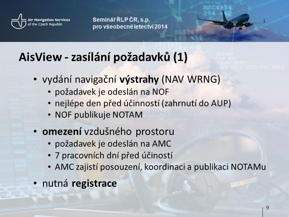 Seminář ŘLP ČR, s.p. pro všeobecné letectví 2014 AisView - zasílání požadavků (1) • vydání navigační výstrahy (NAV WRNG) • požadavek je odeslán na NOF