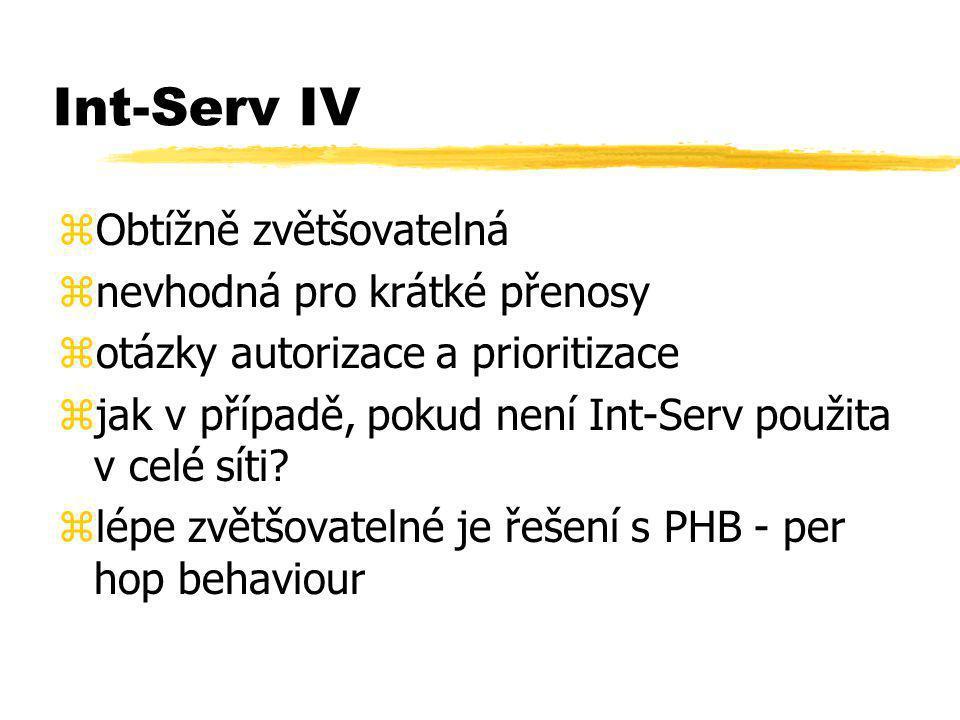 Int-Serv IV zObtížně zvětšovatelná znevhodná pro krátké přenosy zotázky autorizace a prioritizace zjak v případě, pokud není Int-Serv použita v celé s