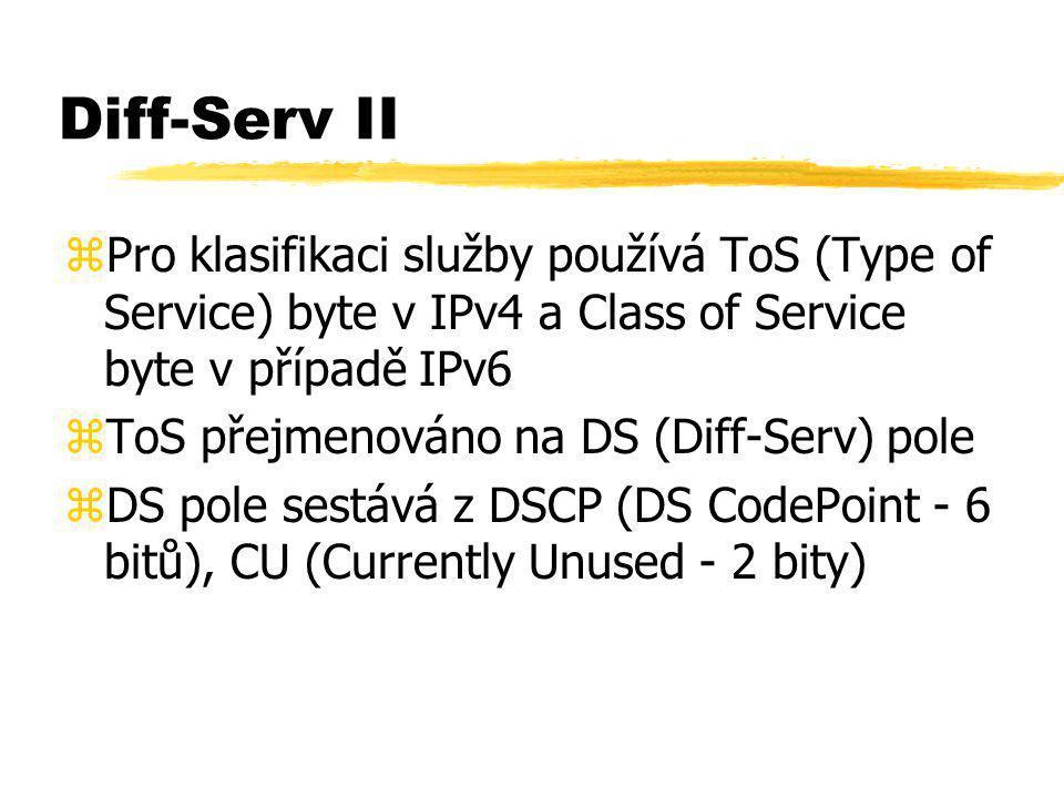 Diff-Serv II zPro klasifikaci služby používá ToS (Type of Service) byte v IPv4 a Class of Service byte v případě IPv6 zToS přejmenováno na DS (Diff-Se