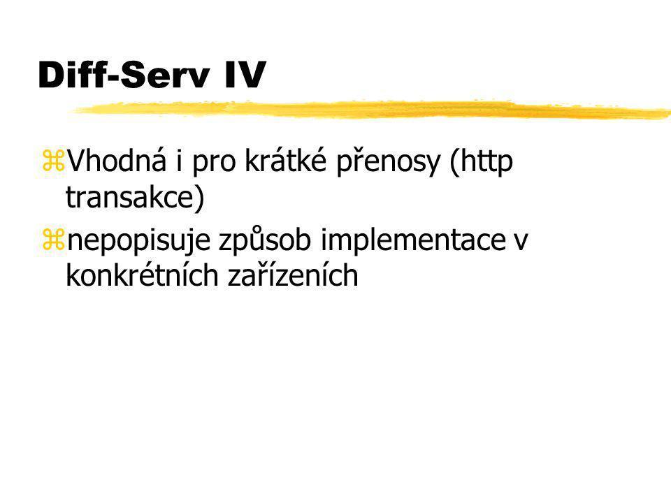 Diff-Serv IV zVhodná i pro krátké přenosy (http transakce) znepopisuje způsob implementace v konkrétních zařízeních