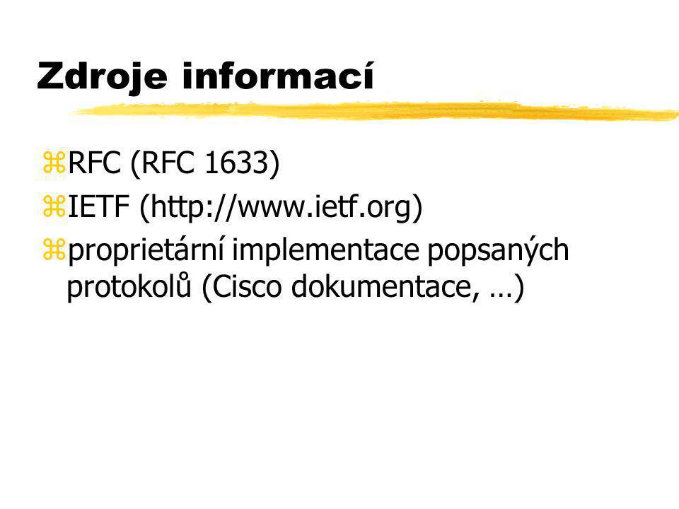 Zdroje informací zRFC (RFC 1633) zIETF (http://www.ietf.org) zproprietární implementace popsaných protokolů (Cisco dokumentace, …)