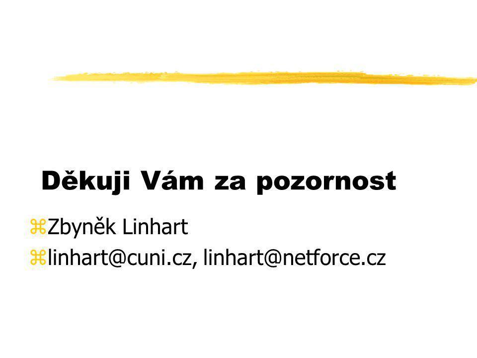 Děkuji Vám za pozornost zZbyněk Linhart zlinhart@cuni.cz, linhart@netforce.cz
