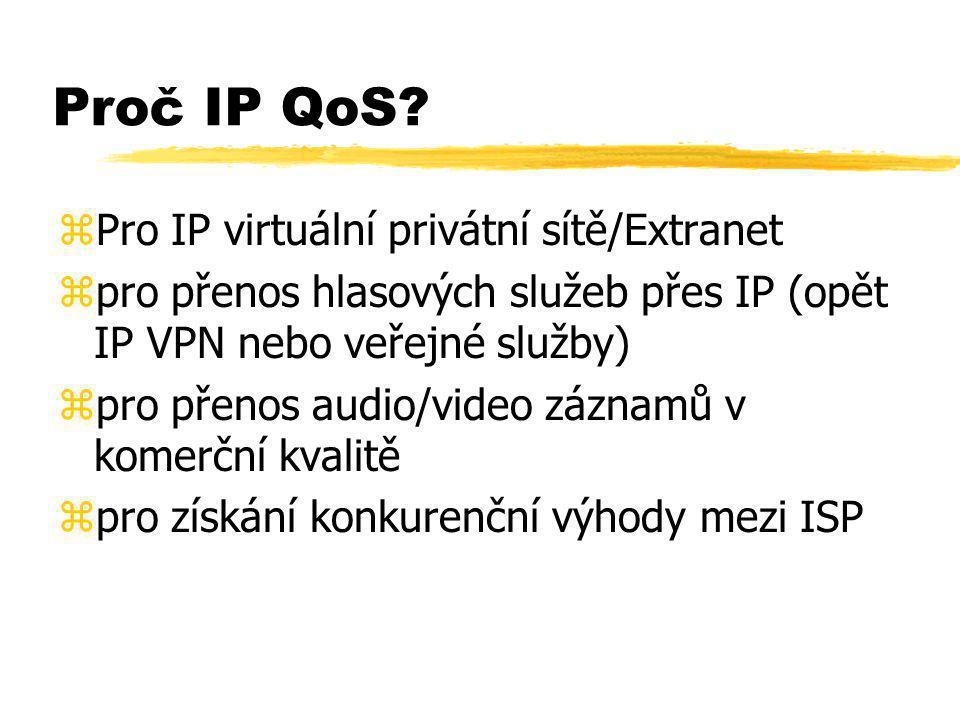 Proč IP QoS? zPro IP virtuální privátní sítě/Extranet zpro přenos hlasových služeb přes IP (opět IP VPN nebo veřejné služby) zpro přenos audio/video z