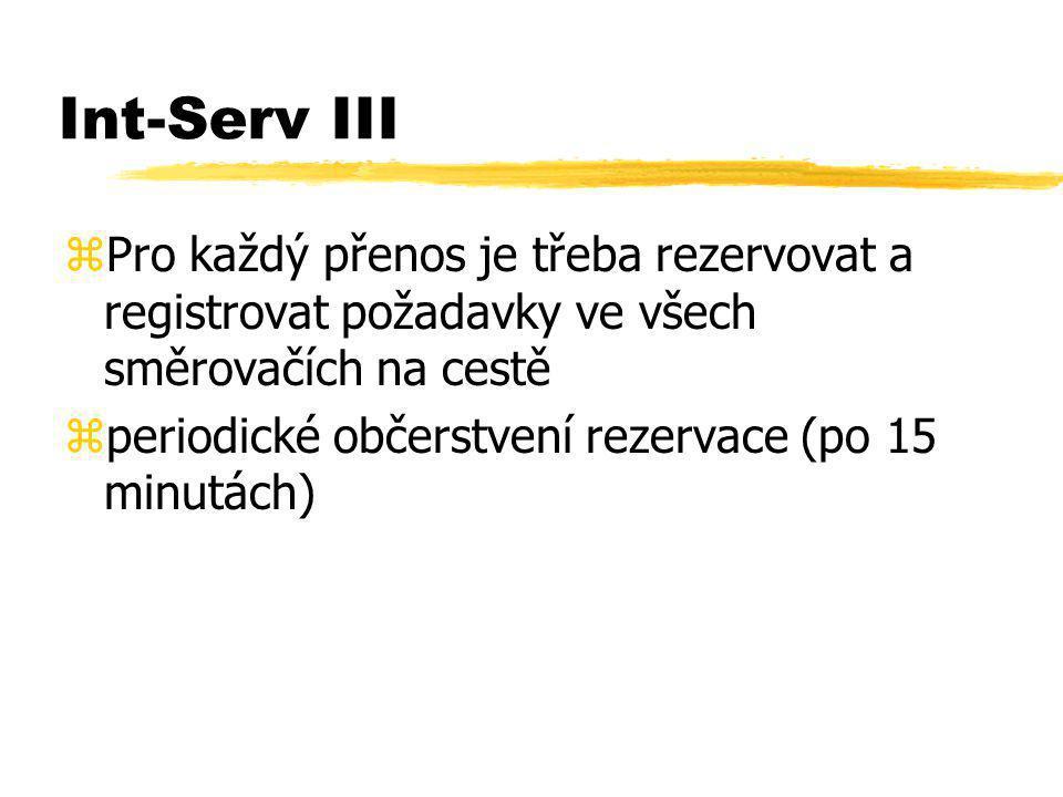 Int-Serv III zPro každý přenos je třeba rezervovat a registrovat požadavky ve všech směrovačích na cestě zperiodické občerstvení rezervace (po 15 minu