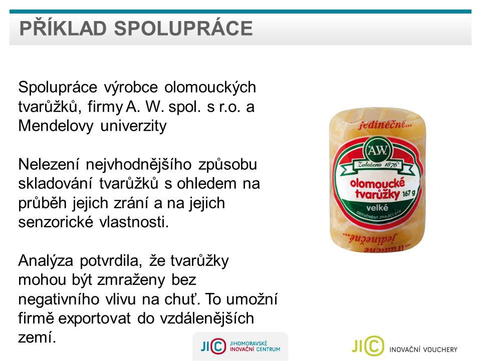 PŘÍKLAD SPOLUPRÁCE Spolupráce výrobce olomouckých tvarůžků, firmy A.