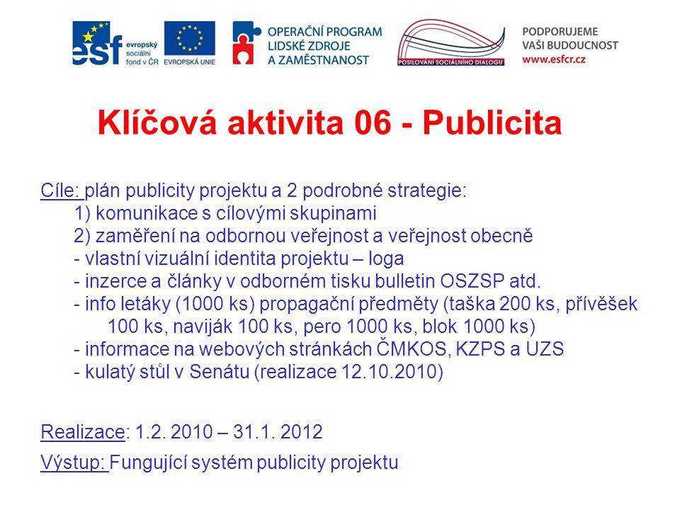 Klíčová aktivita 06 - Publicita Cíle: plán publicity projektu a 2 podrobné strategie: 1) komunikace s cílovými skupinami 2) zaměření na odbornou veřej