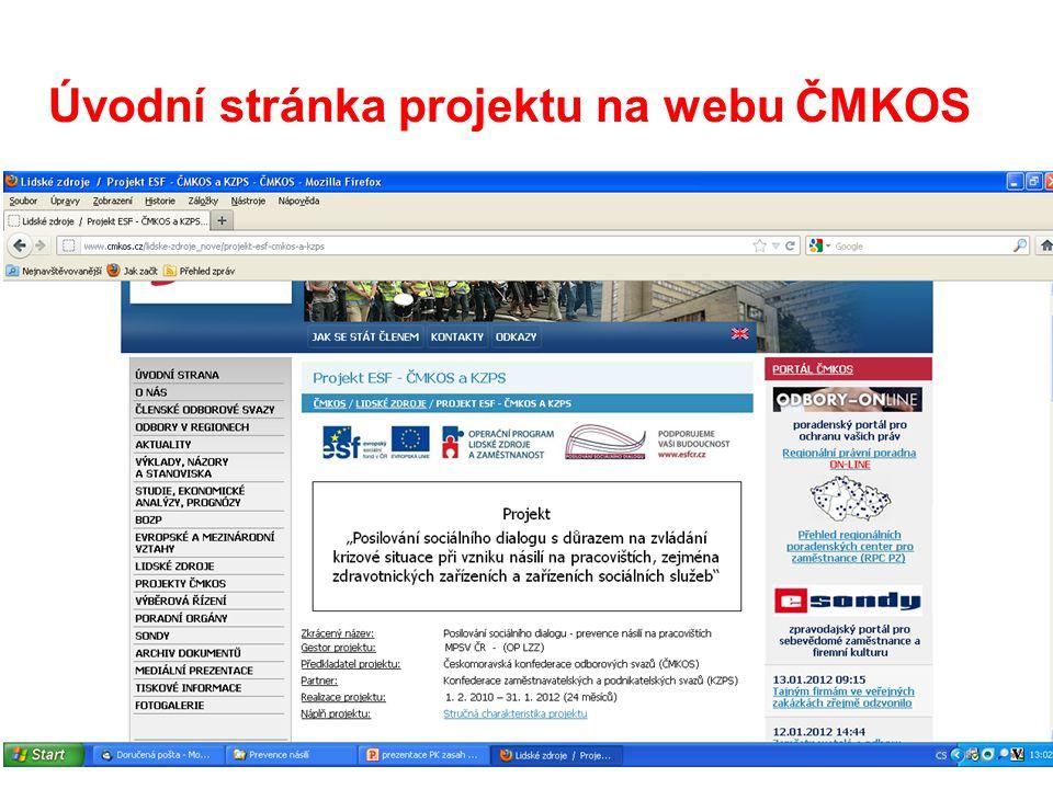 13 Úvodní stránka projektu na webu ČMKOS