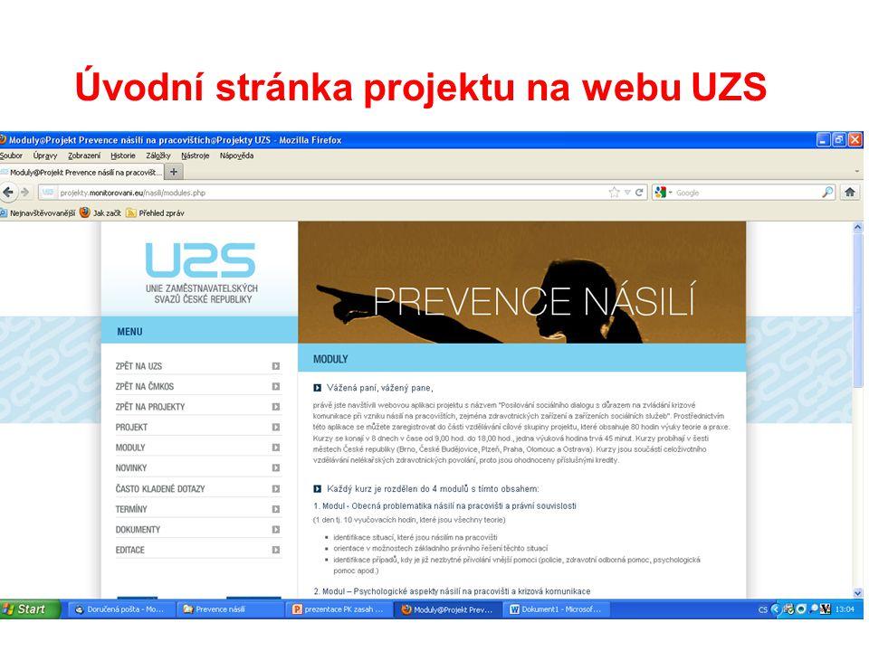 14 Úvodní stránka projektu na webu UZS