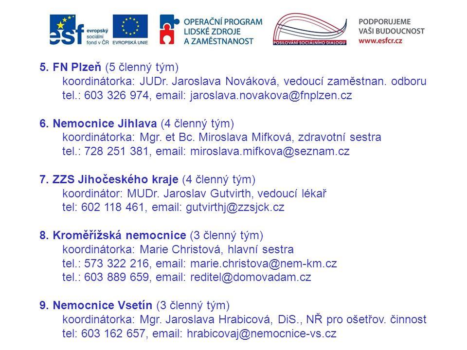 5. FN Plzeň (5 členný tým) koordinátorka: JUDr. Jaroslava Nováková, vedoucí zaměstnan. odboru tel.: 603 326 974, email: jaroslava.novakova@fnplzen.cz