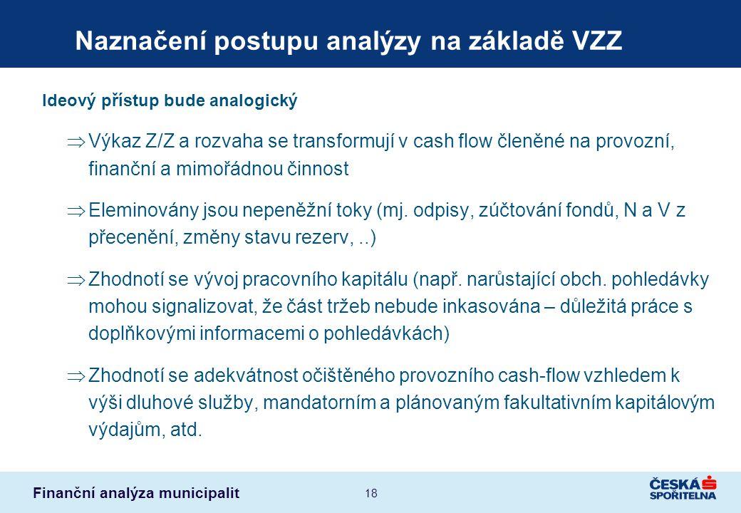 Finanční analýza municipalit 18 Naznačení postupu analýzy na základě VZZ Ideový přístup bude analogický  Výkaz Z/Z a rozvaha se transformují v cash f