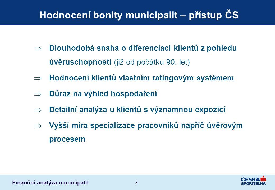 Finanční analýza municipalit 3 Hodnocení bonity municipalit – přístup ČS  Dlouhodobá snaha o diferenciaci klientů z pohledu úvěruschopnosti (již od p