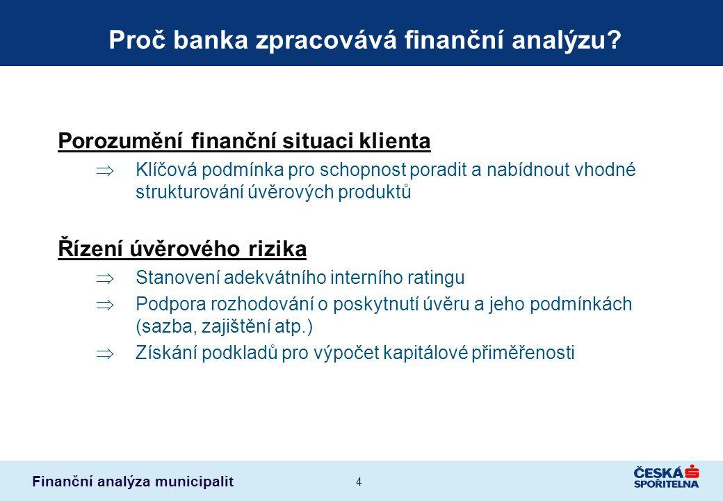 Finanční analýza municipalit 4 Proč banka zpracovává finanční analýzu? Porozumění finanční situaci klienta  Klíčová podmínka pro schopnost poradit a