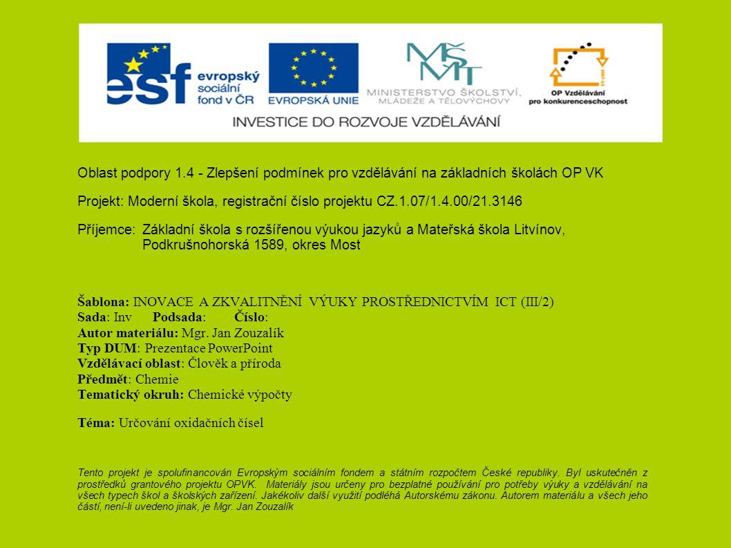Oblast podpory 1.4 - Zlepšení podmínek pro vzdělávání na základních školách OP VK Projekt: Moderní škola, registrační číslo projektu CZ.1.07/1.4.00/21
