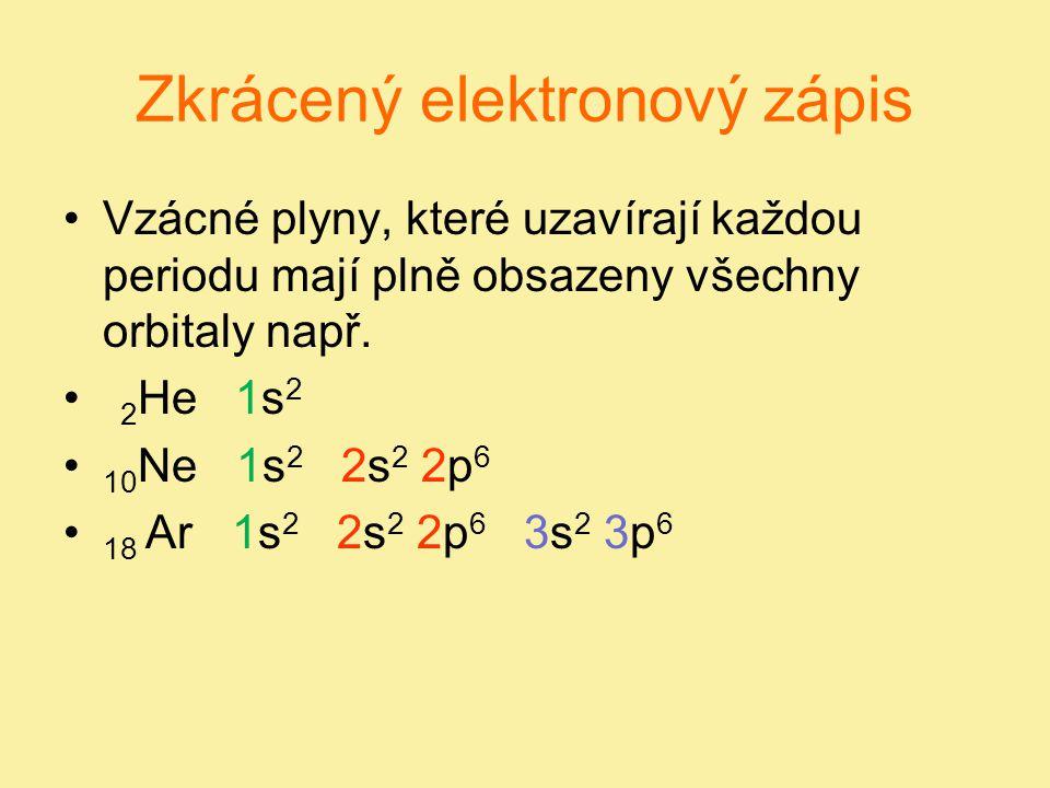 •U zkráceného zápisu používáme symbol vzácného plynu předchozí periody s uvedením počtu elektronů v hranaté závorce [ 2 He] •pomocí orbitalů zapíšeme pouze elektrony, které jsou v poslední energetické vrstvě •pro prvky 2.