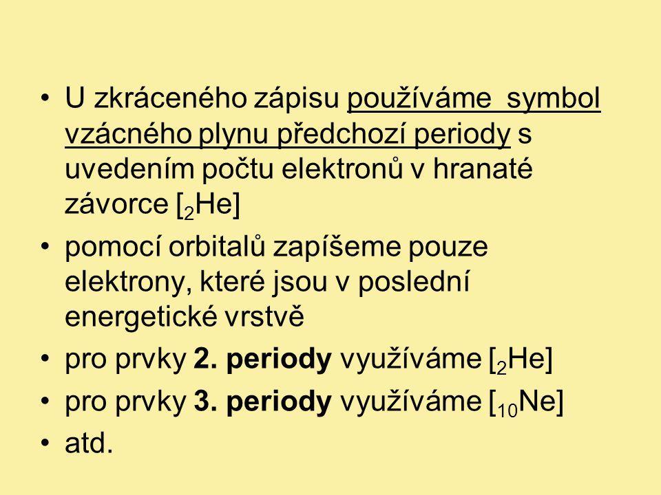 • 17 Cl 1s 2 2s 2 2p 6 3s 2 3p 5 úplný zápis • 17 Cl [ 10 Ne] 3s 2 3p 5 zkrácený zápis • 10 Ne 1s 2 2s 2 2p 6