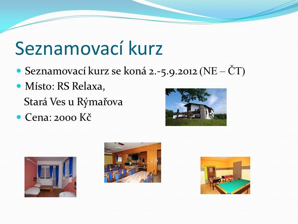Seznamovací kurz  Seznamovací kurz se koná 2.-5.9.2012 (NE – ČT)  Místo: RS Relaxa, Stará Ves u Rýmařova  Cena: 2000 Kč