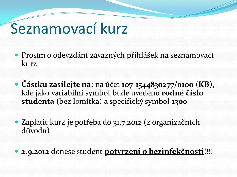 Seznamovací kurz  Prosím o odevzdání závazných přihlášek na seznamovací kurz  Částku zasílejte na: na účet 107-1544830277/0100 (KB), kde jako variab