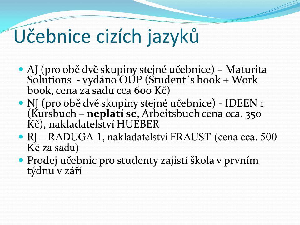 Učebnice cizích jazyků  AJ (pro obě dvě skupiny stejné učebnice) – Maturita Solutions - vydáno OUP (Student´s book + Work book, cena za sadu cca 600