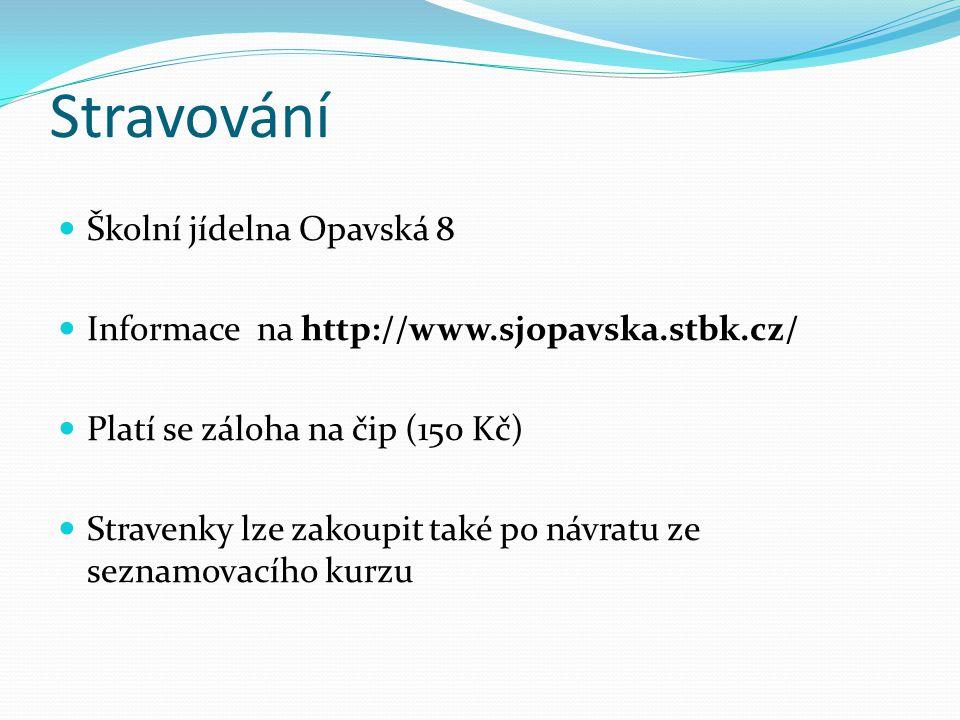 Stravování  Školní jídelna Opavská 8  Informace na http://www.sjopavska.stbk.cz/  Platí se záloha na čip (150 Kč)  Stravenky lze zakoupit také po