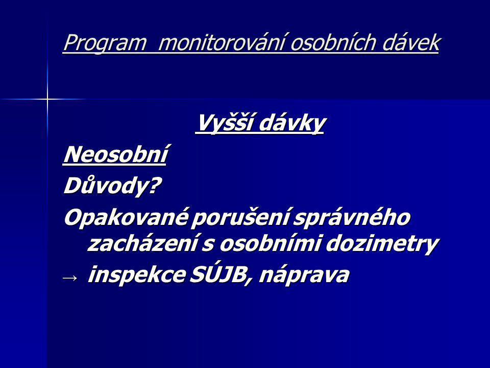 Program monitorování osobních dávek Vyšší dávky NeosobníDůvody.