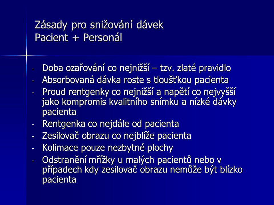 Zásady pro snižování dávek Pacient + Personál - Doba ozařování co nejnižší – tzv.