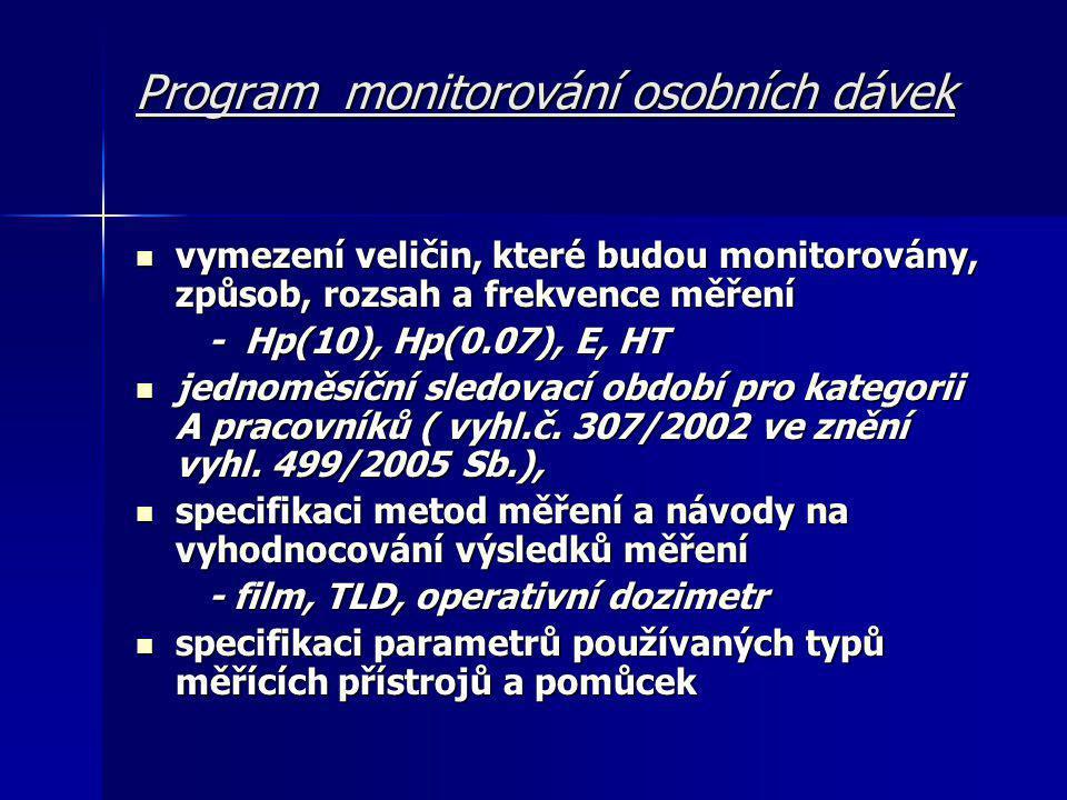 Program monitorování osobních dávek  vymezení veličin, které budou monitorovány, způsob, rozsah a frekvence měření - Hp(10), Hp(0.07), E, HT - Hp(10), Hp(0.07), E, HT  jednoměsíční sledovací období pro kategorii A pracovníků ( vyhl.č.