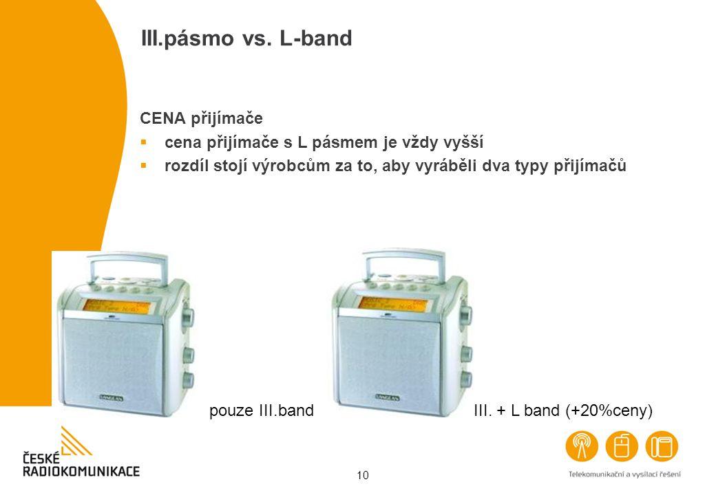 10 III.pásmo vs. L-band CENA přijímače  cena přijímače s L pásmem je vždy vyšší  rozdíl stojí výrobcům za to, aby vyráběli dva typy přijímačů pouze
