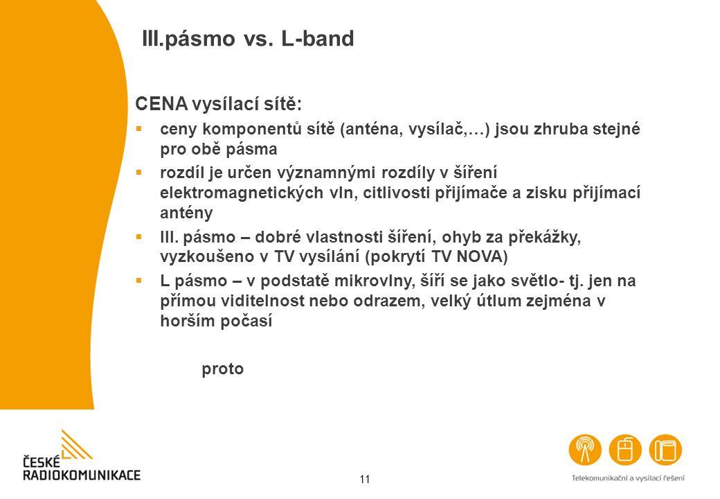 11 III.pásmo vs. L-band CENA vysílací sítě:  ceny komponentů sítě (anténa, vysílač,…) jsou zhruba stejné pro obě pásma  rozdíl je určen významnými r