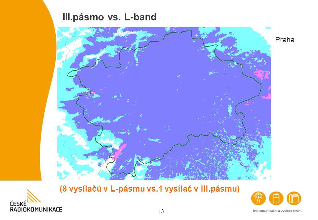 13 III.pásmo vs. L-band Praha (8 vysílačů v L-pásmu vs.1 vysílač v III.pásmu)