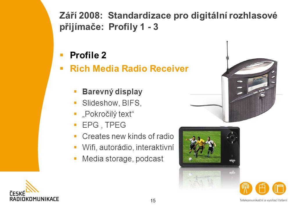 15 Září 2008: Standardizace pro digitální rozhlasové přijímače: Profily 1 - 3  Profile 2  Rich Media Radio Receiver  Barevný display  Slideshow, B