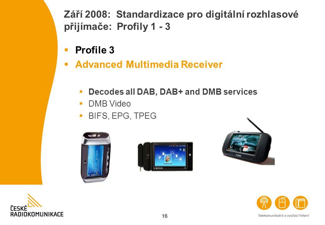 16 Září 2008: Standardizace pro digitální rozhlasové přijímače: Profily 1 - 3  Profile 3  Advanced Multimedia Receiver  Decodes all DAB, DAB+ and D