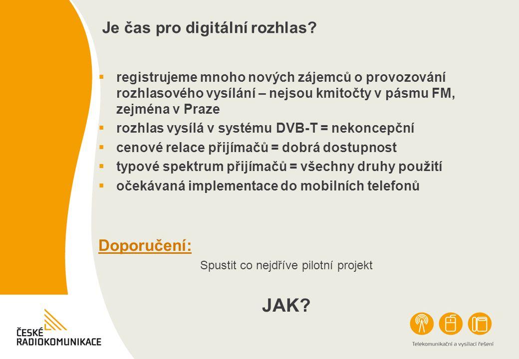 Je čas pro digitální rozhlas?  registrujeme mnoho nových zájemců o provozování rozhlasového vysílání – nejsou kmitočty v pásmu FM, zejména v Praze 
