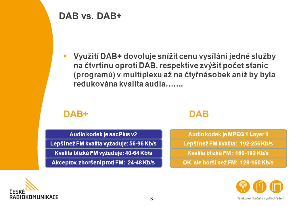 33  Využití DAB+ dovoluje snížit cenu vysílání jedné služby na čtvrtinu oproti DAB, respektive zvýšit počet stanic (programů) v multiplexu až na čtyř