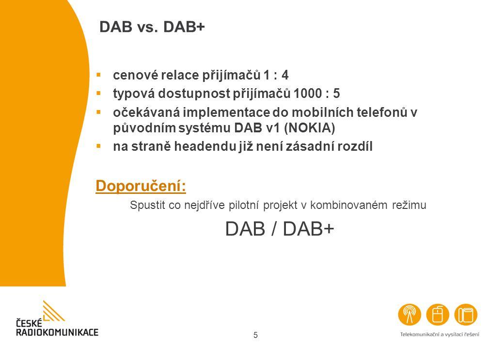 5 DAB vs. DAB+  cenové relace přijímačů 1 : 4  typová dostupnost přijímačů 1000 : 5  očekávaná implementace do mobilních telefonů v původním systém