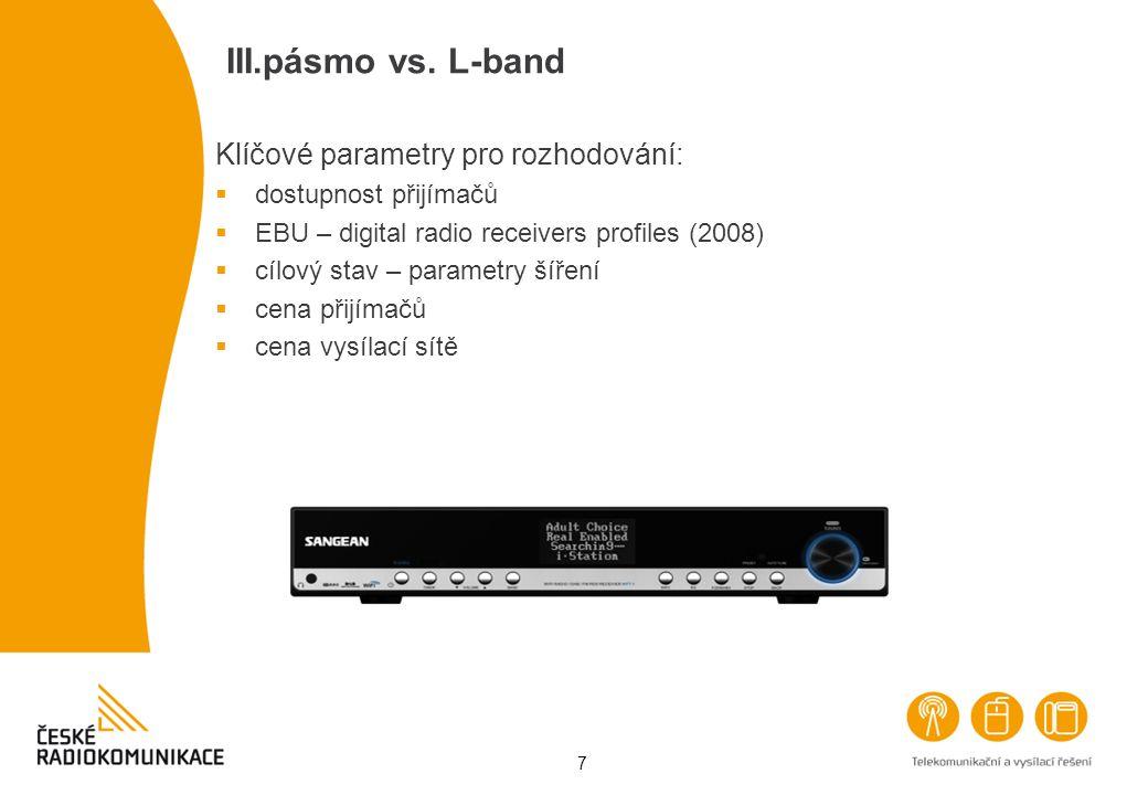 7 III.pásmo vs. L-band Klíčové parametry pro rozhodování:  dostupnost přijímačů  EBU – digital radio receivers profiles (2008)  cílový stav – param