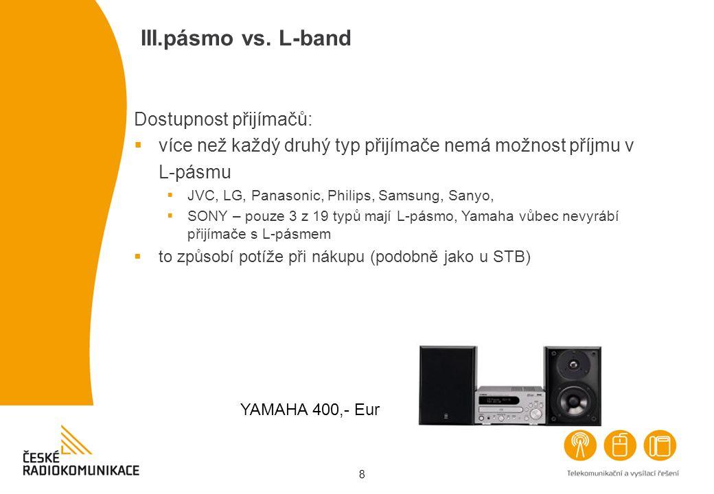 8 III.pásmo vs. L-band Dostupnost přijímačů:  více než každý druhý typ přijímače nemá možnost příjmu v L-pásmu  JVC, LG, Panasonic, Philips, Samsung