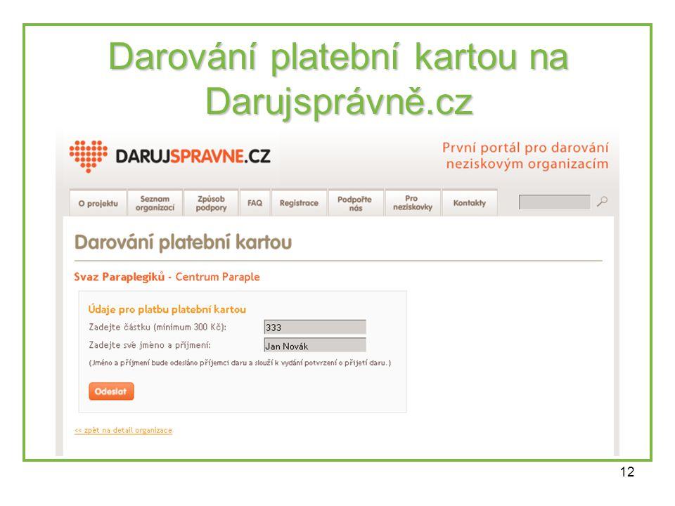 12 Darování platební kartou na Darujsprávně.cz