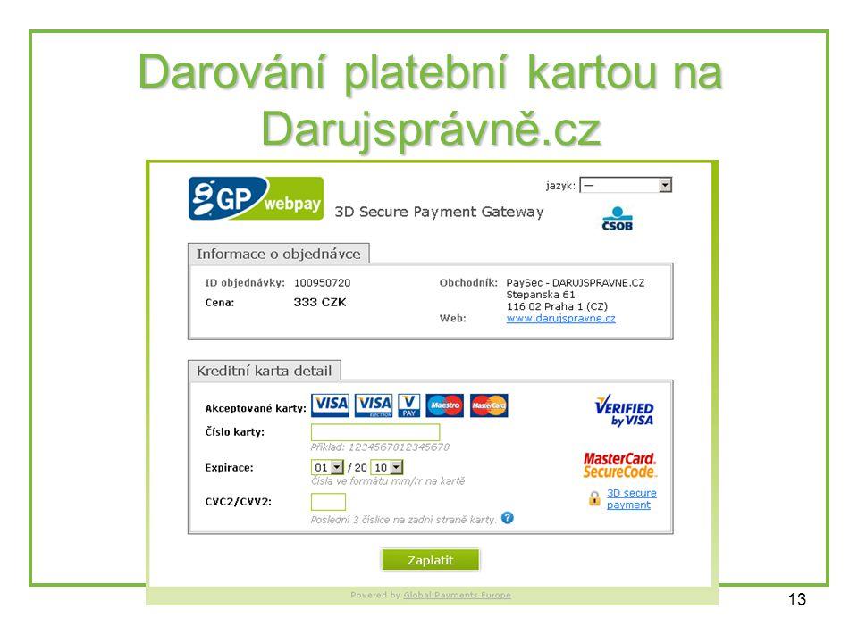 13 Darování platební kartou na Darujsprávně.cz