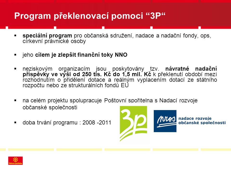 Program překlenovací pomoci 3P  speciální program pro občanská sdružení, nadace a nadační fondy, ops, církevní právnické osoby  jeho cílem je zlepšit finanční toky NNO  neziskovým organizacím jsou poskytovány tzv.