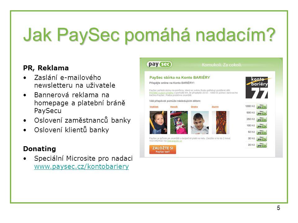 5 Jak PaySec pomáhá nadacím? PR, Reklama •Zaslání e-mailového newsletteru na uživatele •Bannerová reklama na homepage a platební bráně PaySecu •Oslove