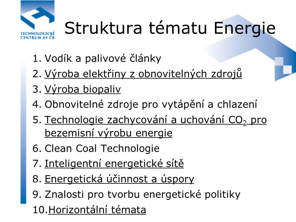 Struktura tématu Energie 1.Vodík a palivové články 2.Výroba elektřiny z obnovitelných zdrojů 3.Výroba biopaliv 4.Obnovitelné zdroje pro vytápění a chl