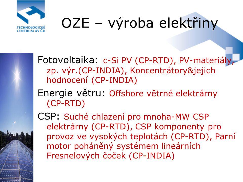 OZE – výroba elektřiny Fotovoltaika: c-Si PV (CP-RTD), PV-materiály, zp. výr.(CP-INDIA), Koncentrátory&jejich hodnocení (CP-INDIA) Energie větru: Offs
