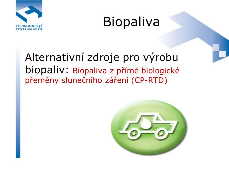 Biopaliva Alternativní zdroje pro výrobu biopaliv: Biopaliva z přímé biologické přeměny slunečního záření (CP-RTD)