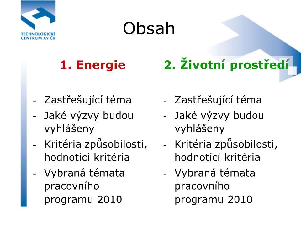 Obsah 1. Energie - Zastřešující téma - Jaké výzvy budou vyhlášeny - Kritéria způsobilosti, hodnotící kritéria - Vybraná témata pracovního programu 201