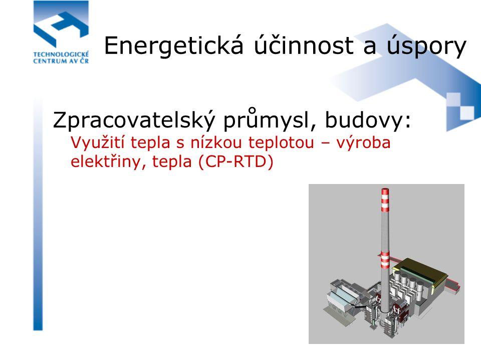 Energetická účinnost a úspory Zpracovatelský průmysl, budovy: Využití tepla s nízkou teplotou – výroba elektřiny, tepla (CP-RTD)