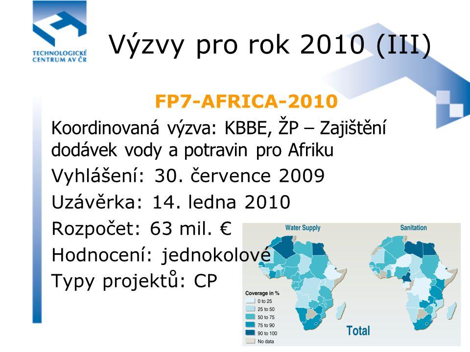 FP7-AFRICA-2010 Koordinovaná výzva: KBBE, ŽP – Zajištění dodávek vody a potravin pro Afriku Vyhlášení: 30. července 2009 Uzávěrka: 14. ledna 2010 Rozp