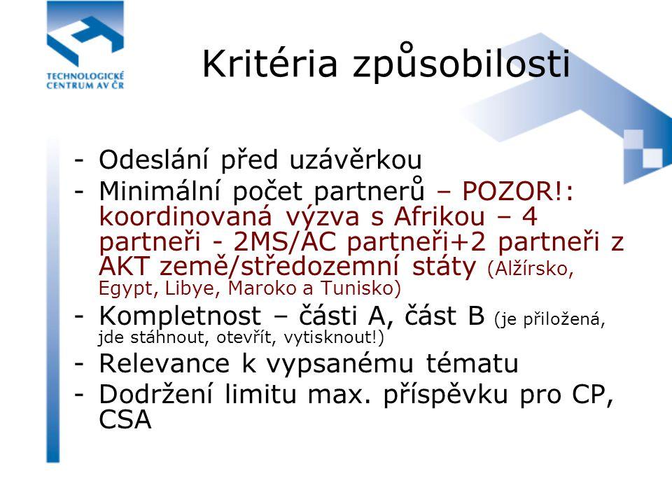 Kritéria způsobilosti -Odeslání před uzávěrkou -Minimální počet partnerů – POZOR!: koordinovaná výzva s Afrikou – 4 partneři - 2MS/AC partneři+2 partn