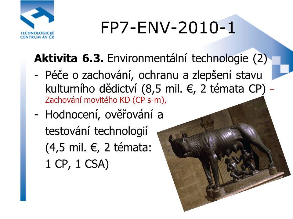 FP7-ENV-2010-1 Aktivita 6.3. Environmentální technologie (2) -Péče o zachování, ochranu a zlepšení stavu kulturního dědictví (8,5 mil. €, 2 témata CP)
